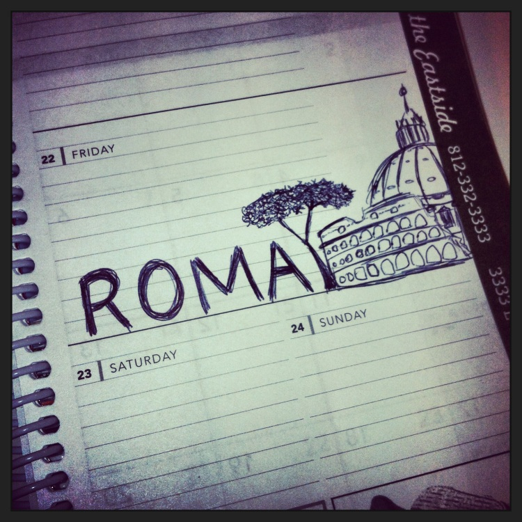 I doodled this in class. Leaving for Roma tomorrow!